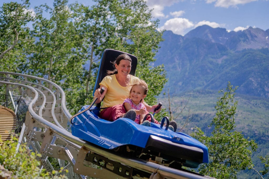Mom and daughter on Inferno Coaster
